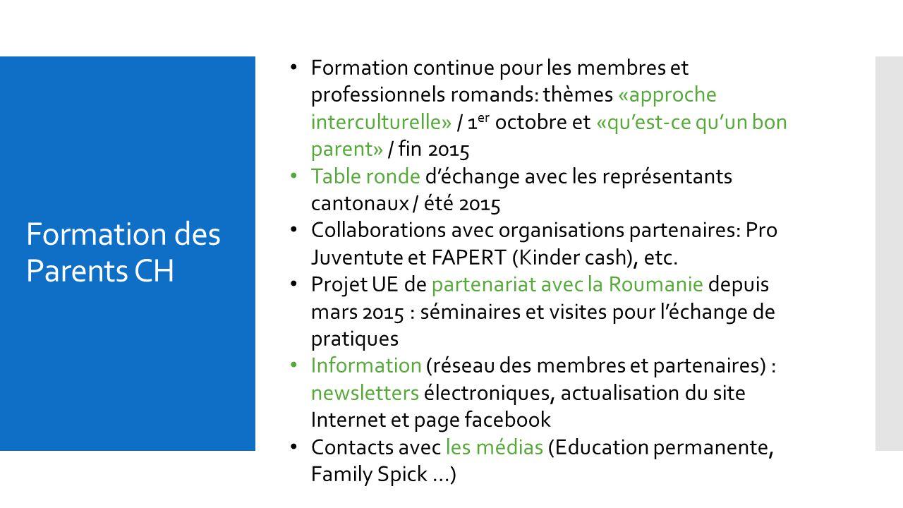 Formation des Parents CH Formation continue pour les membres et professionnels romands: thèmes «approche interculturelle» / 1 er octobre et «qu'est-ce