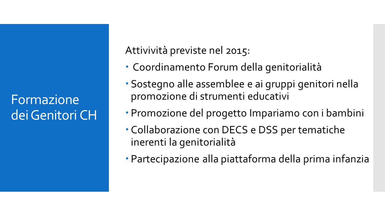Formazione dei Genitori CH Attivività previste nel 2015:  Coordinamento Forum della genitorialità  Sostegno alle assemblee e ai gruppi genitori nell