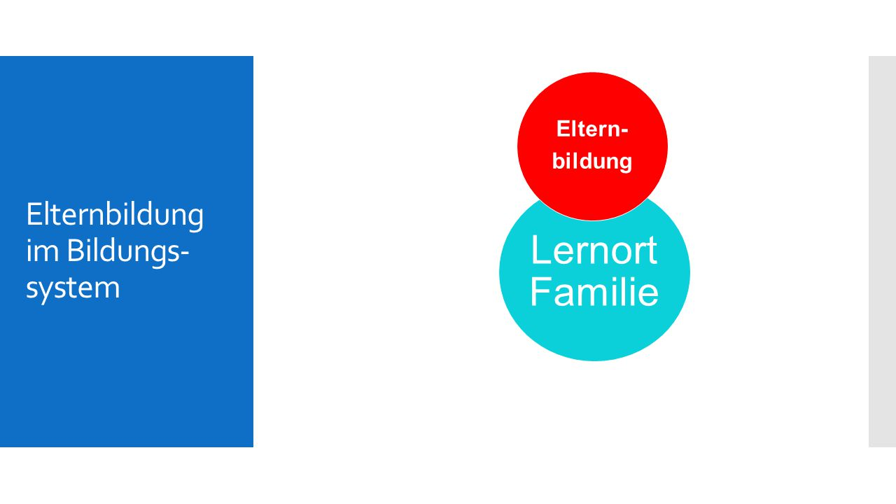 Elternbildung im Bildungs- system Lernort Familie Eltern- bildung Horte Schulen Familienzentren Gemeinschafts- zentren.