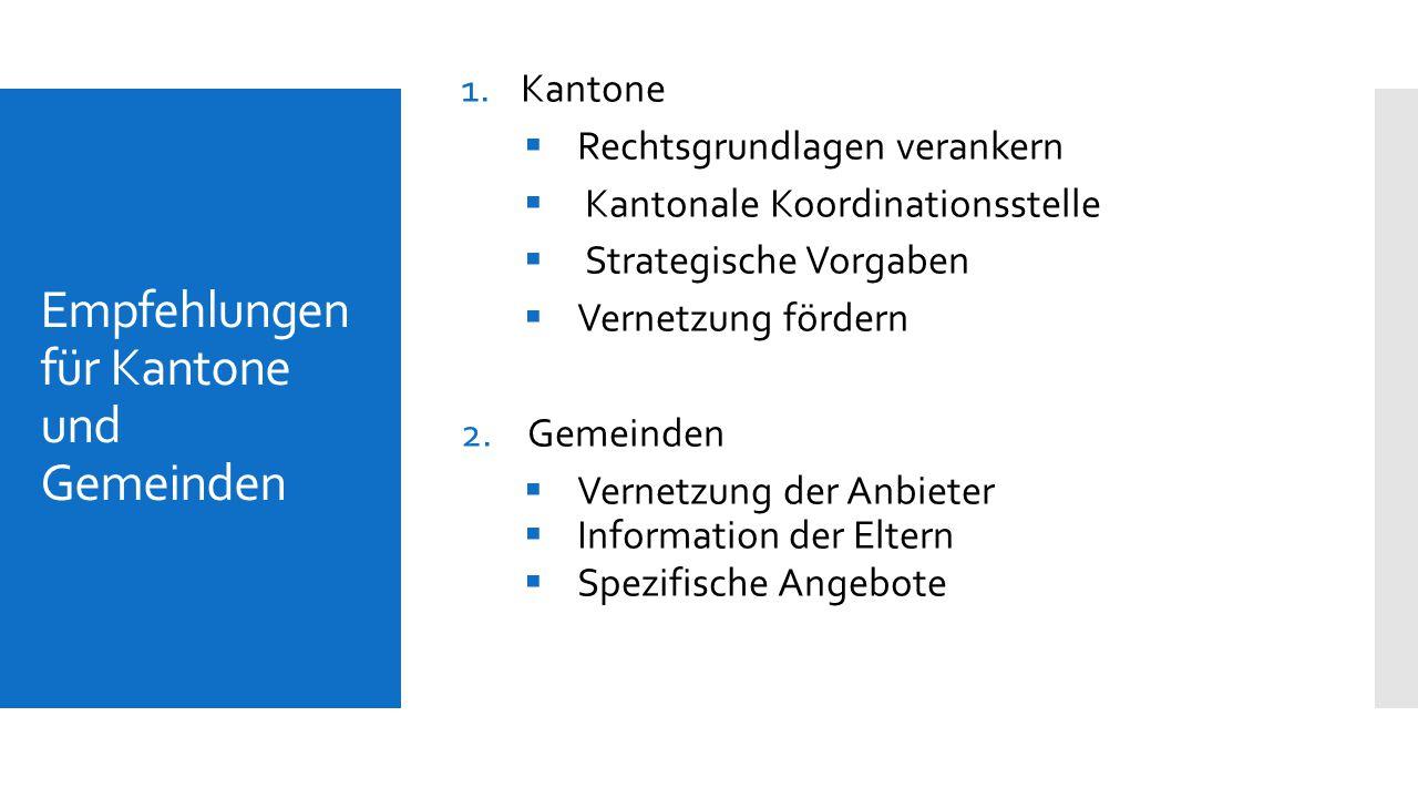 Empfehlungen für Kantone und Gemeinden 1.Kantone  Rechtsgrundlagen verankern  Kantonale Koordinationsstelle  Strategische Vorgaben  Vernetzung för