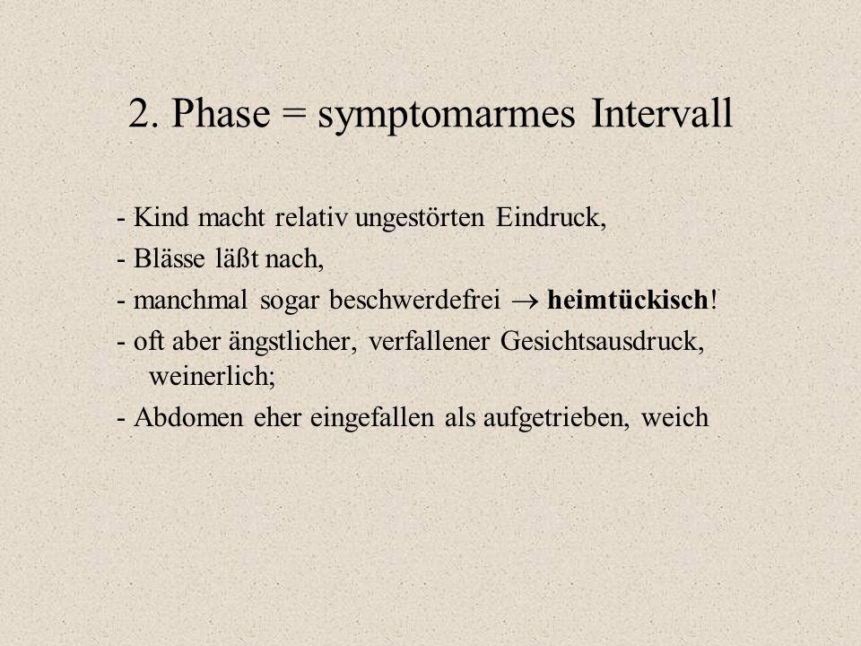 2. Phase = symptomarmes Intervall - Kind macht relativ ungestörten Eindruck, - Blässe läßt nach, - manchmal sogar beschwerdefrei  heimtückisch! - oft