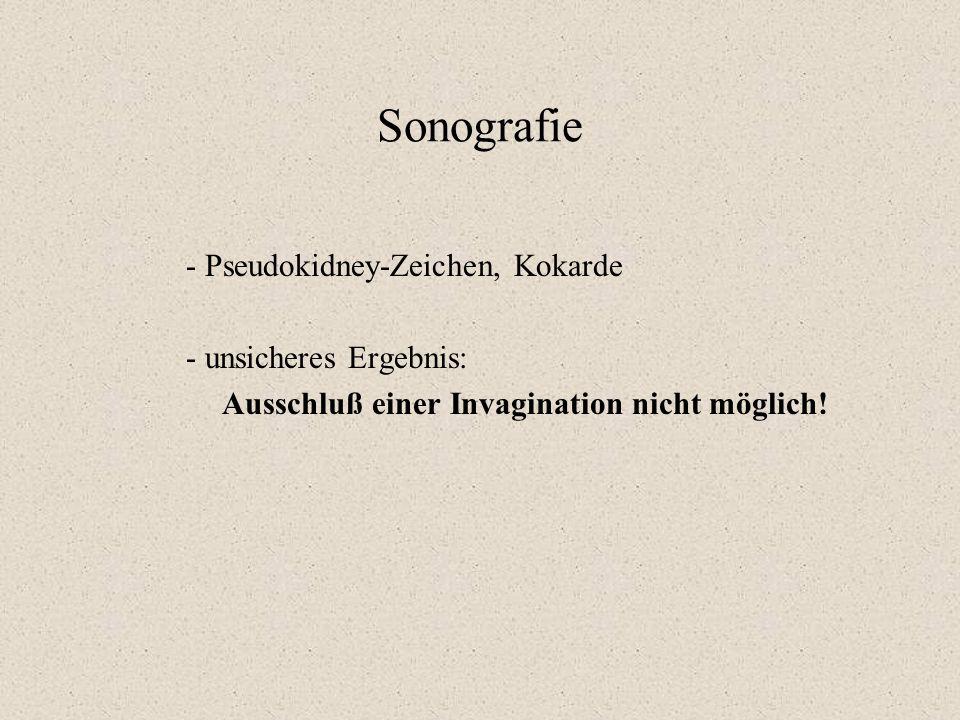 Sonografie - Pseudokidney-Zeichen, Kokarde - unsicheres Ergebnis: Ausschluß einer Invagination nicht möglich!