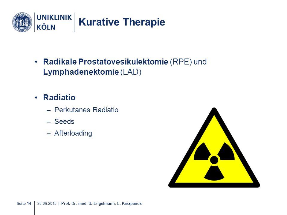 Seite 14 26.06.2015 | Prof. Dr. med. U. Engelmann, L. Karapanos Kurative Therapie Radikale Prostatovesikulektomie (RPE) und Lymphadenektomie (LAD) Rad
