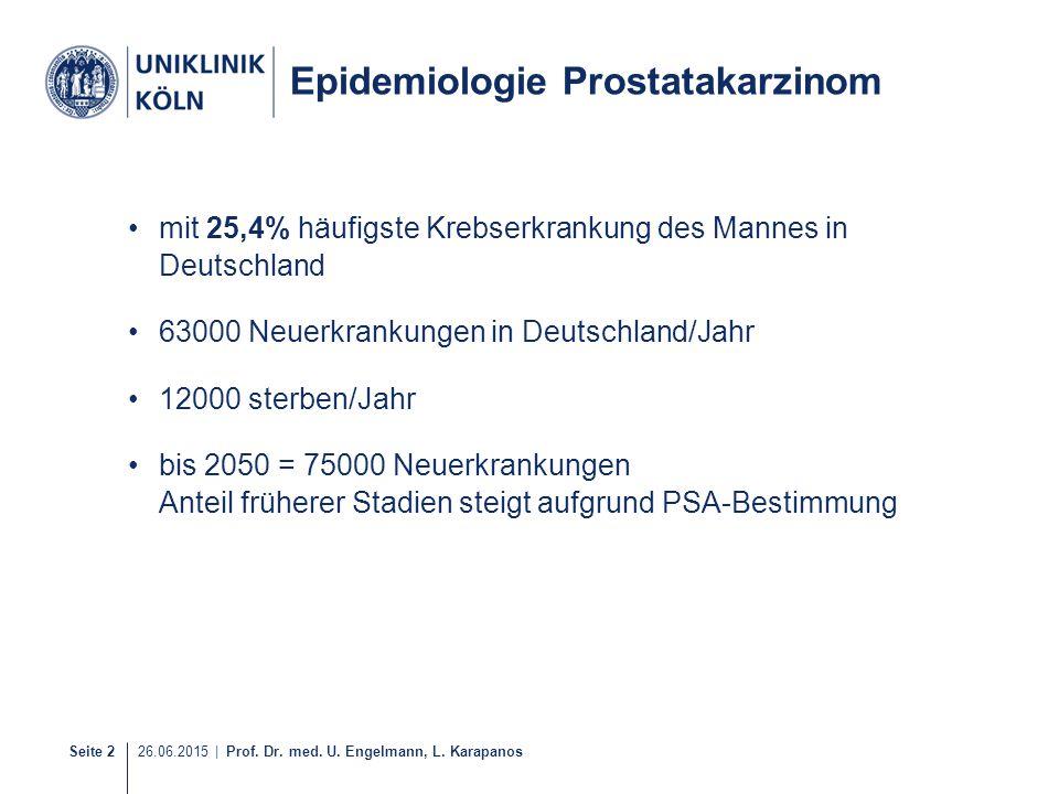 Seite 2 26.06.2015 | Prof. Dr. med. U. Engelmann, L. Karapanos Epidemiologie Prostatakarzinom mit 25,4% häufigste Krebserkrankung des Mannes in Deutsc