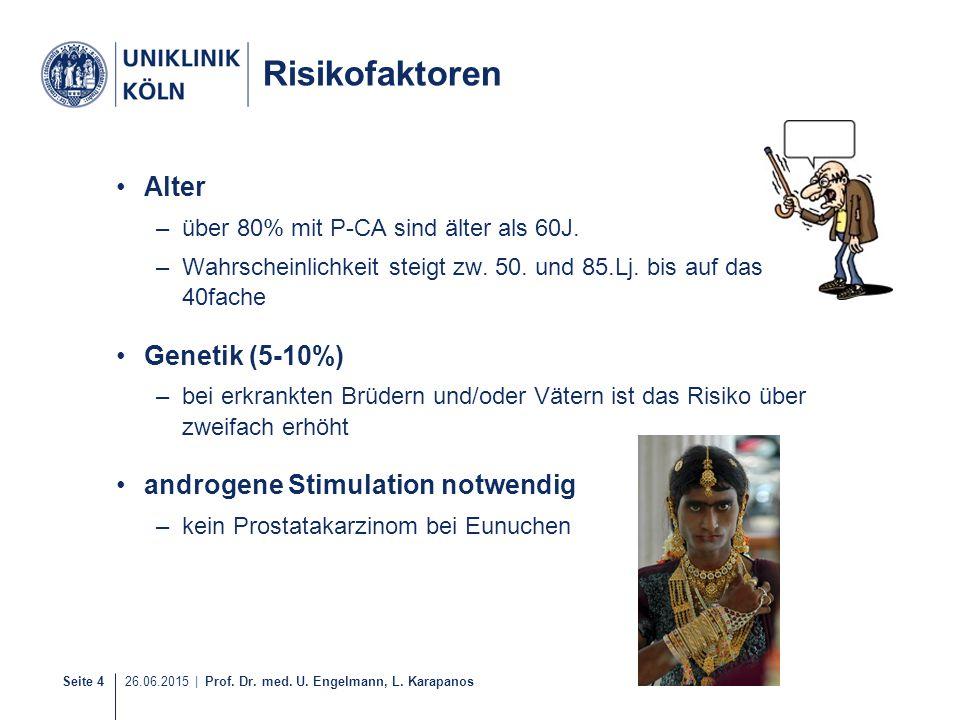 Seite 4 26.06.2015 | Prof. Dr. med. U. Engelmann, L. Karapanos Risikofaktoren Alter –über 80% mit P-CA sind älter als 60J. –Wahrscheinlichkeit steigt