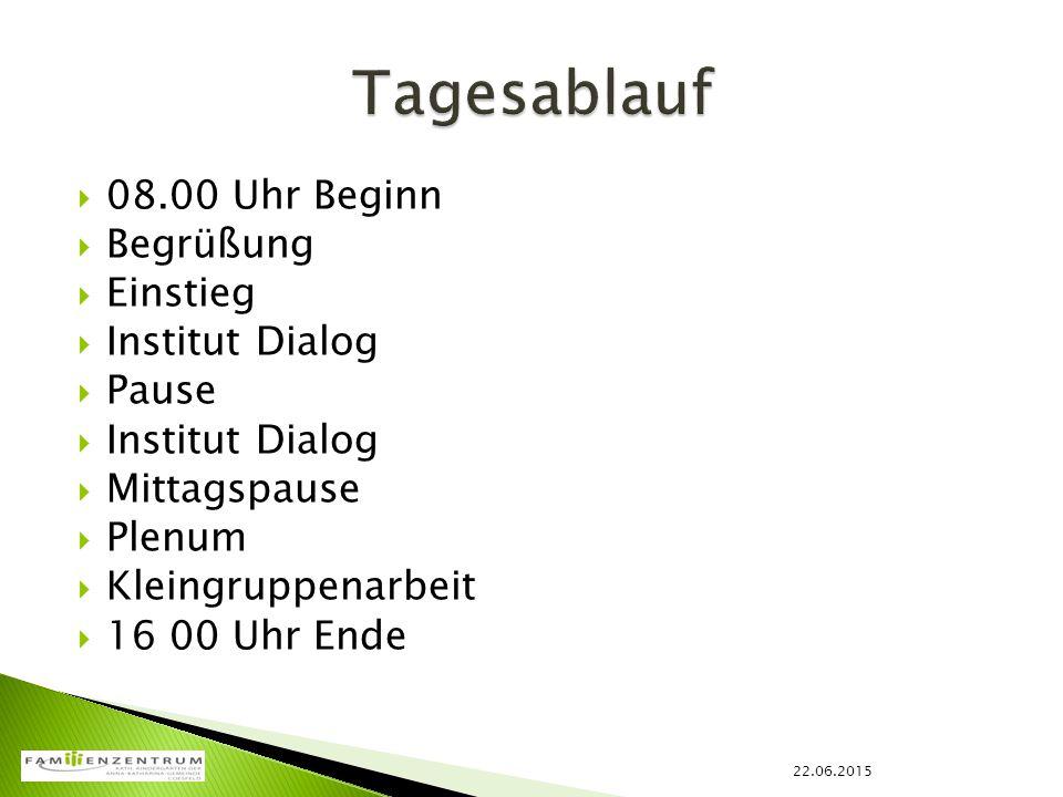  08.00 Uhr Beginn  Begrüßung  Einstieg  Institut Dialog  Pause  Institut Dialog  Mittagspause  Plenum  Kleingruppenarbeit  16 00 Uhr Ende 22