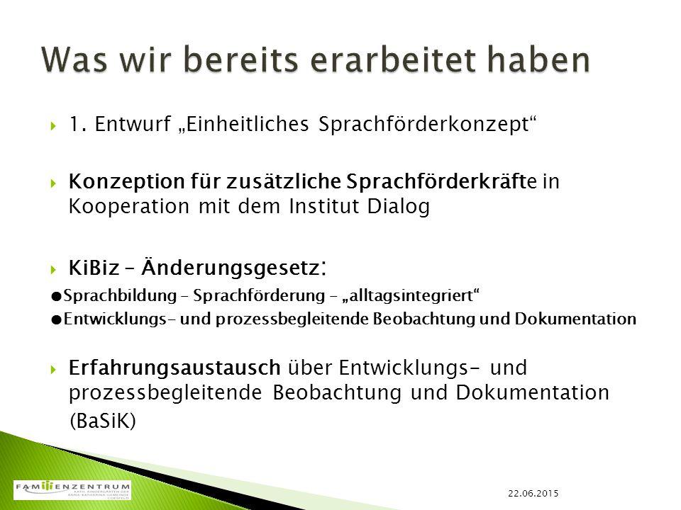 """ 1. Entwurf """"Einheitliches Sprachförderkonzept""""  Konzeption für zusätzliche Sprachförderkräfte in Kooperation mit dem Institut Dialog  KiBiz – Ände"""