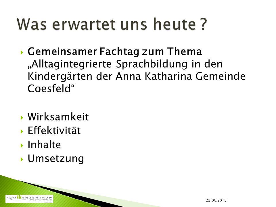 """ Gemeinsamer Fachtag zum Thema """"Alltagintegrierte Sprachbildung in den Kindergärten der Anna Katharina Gemeinde Coesfeld""""  Wirksamkeit  Effektivitä"""