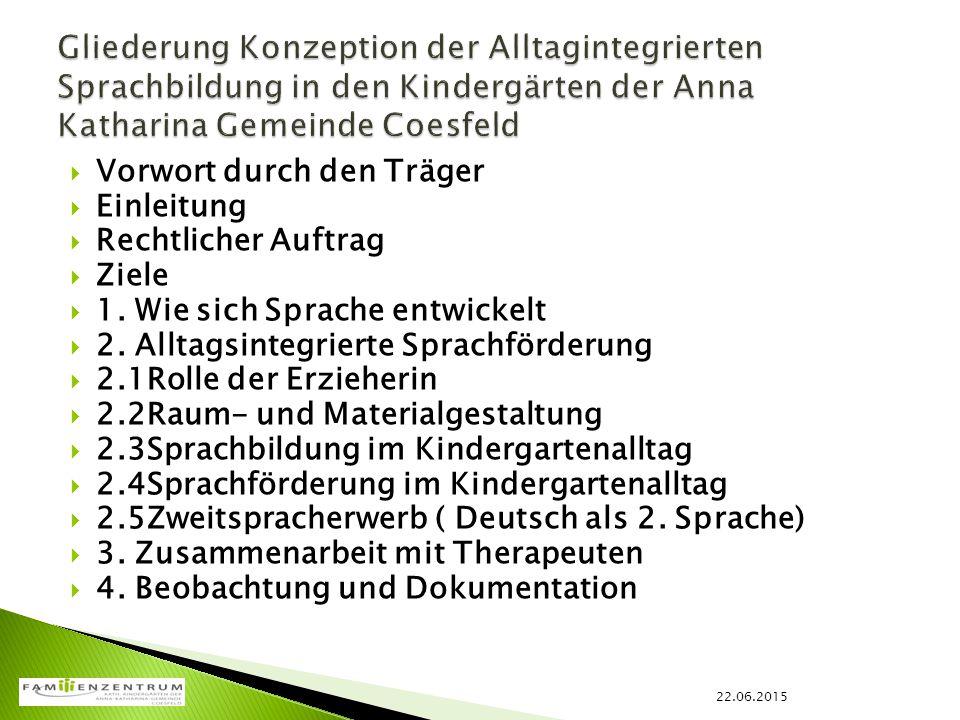  Qualifizierung und Qualitätssicherung  Die Haltung der pädagogischen MitarbeiterInnen  Raum und Material  Sprachanlässe  Beobachtung und Dokumentation 22.06.2015