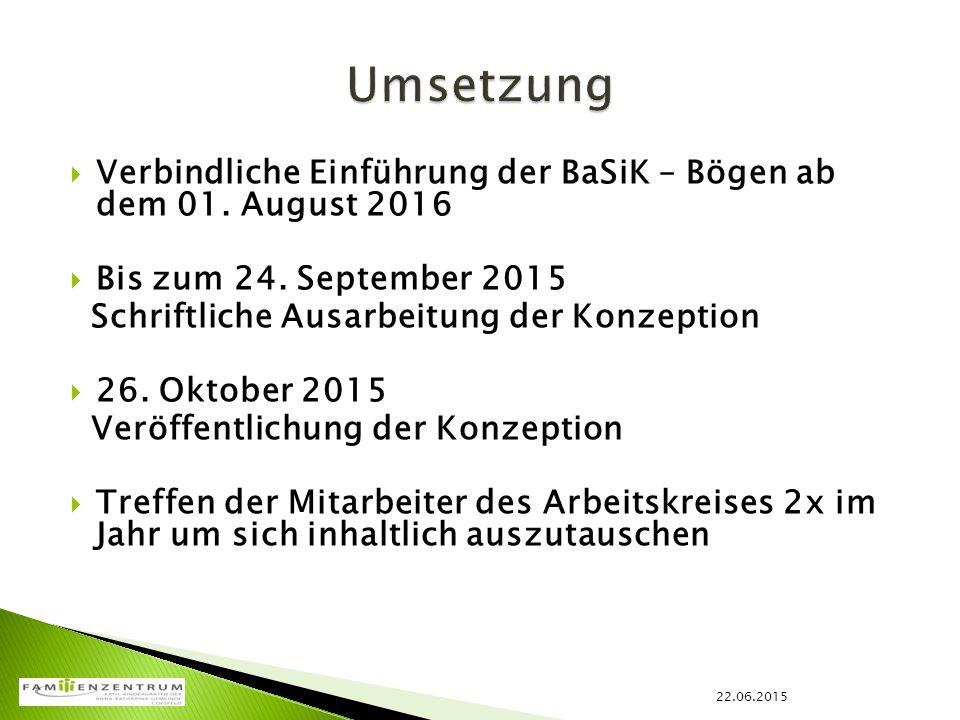  Verbindliche Einführung der BaSiK – Bögen ab dem 01. August 2016  Bis zum 24. September 2015 Schriftliche Ausarbeitung der Konzeption  26. Oktober