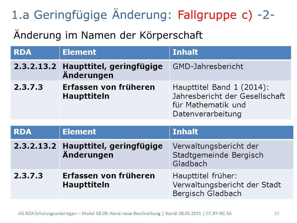 AG RDA Schulungsunterlagen – Modul 5B.09: Keine neue Beschreibung | Stand: 08.05.2015 | CC BY-NC-SA10 RDAElementInhalt 2.3.2.13.2Haupttitel, geringfügige Änderungen GMD-Jahresbericht 2.3.7.3Erfassen von früheren Haupttiteln Haupttitel Band 1 (2014): Jahresbericht der Gesellschaft für Mathematik und Datenverarbeitung 1.a Geringfügige Änderung: Fallgruppe c) -2- Änderung im Namen der Körperschaft RDAElementInhalt 2.3.2.13.2Haupttitel, geringfügige Änderungen Verwaltungsbericht der Stadtgemeinde Bergisch Gladbach 2.3.7.3Erfassen von früheren Haupttiteln Haupttitel früher: Verwaltungsbericht der Stadt Bergisch Gladbach