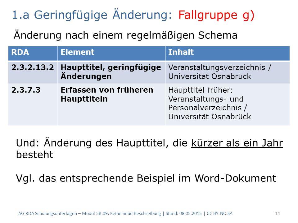 AG RDA Schulungsunterlagen – Modul 5B.09: Keine neue Beschreibung | Stand: 08.05.2015 | CC BY-NC-SA14 RDAElementInhalt 2.3.2.13.2Haupttitel, geringfügige Änderungen Veranstaltungsverzeichnis / Universität Osnabrück 2.3.7.3Erfassen von früheren Haupttiteln Haupttitel früher: Veranstaltungs- und Personalverzeichnis / Universität Osnabrück 1.a Geringfügige Änderung: Fallgruppe g) Änderung nach einem regelmäßigen Schema Und: Änderung des Haupttitel, die kürzer als ein Jahr besteht Vgl.