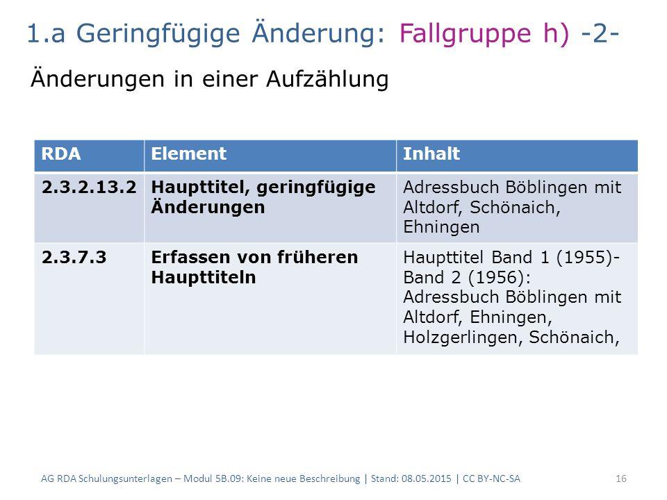 AG RDA Schulungsunterlagen – Modul 5B.09: Keine neue Beschreibung | Stand: 08.05.2015 | CC BY-NC-SA16 RDAElementInhalt 2.3.2.13.2Haupttitel, geringfügige Änderungen Adressbuch Böblingen mit Altdorf, Schönaich, Ehningen 2.3.7.3Erfassen von früheren Haupttiteln Haupttitel Band 1 (1955)- Band 2 (1956): Adressbuch Böblingen mit Altdorf, Ehningen, Holzgerlingen, Schönaich, 1.a Geringfügige Änderung: Fallgruppe h) -2- Änderungen in einer Aufzählung