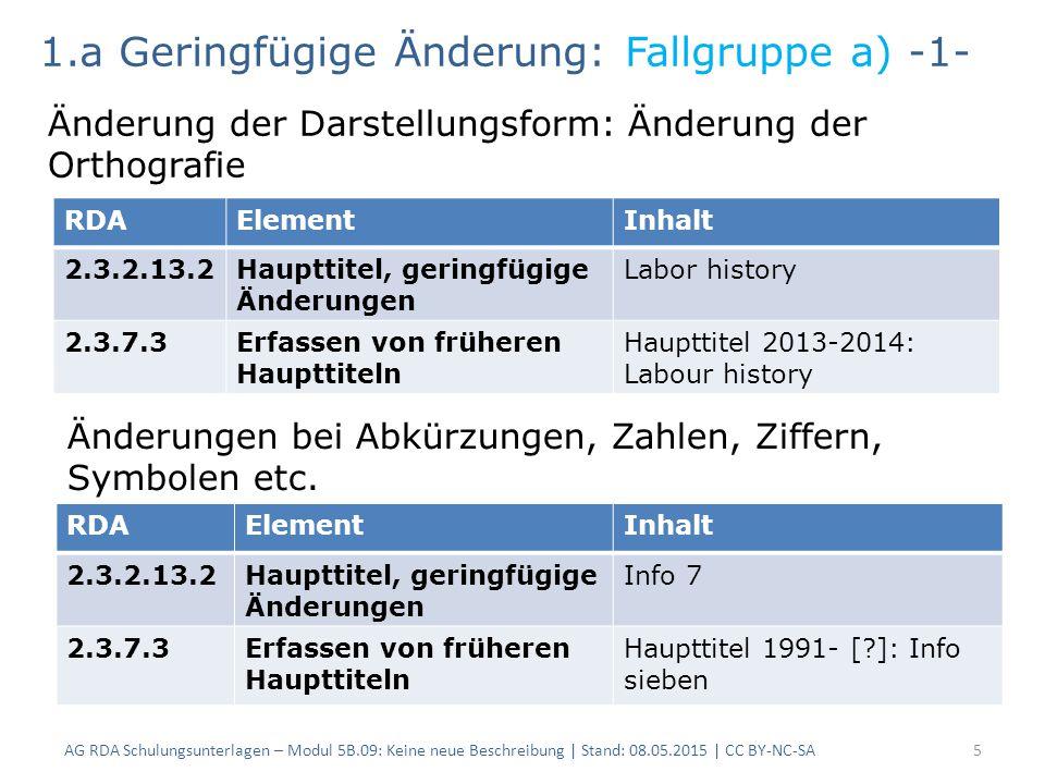 AG RDA Schulungsunterlagen – Modul 5B.09: Keine neue Beschreibung   Stand: 08.05.2015   CC BY-NC-SA16 RDAElementInhalt 2.3.2.13.2Haupttitel, geringfügige Änderungen Adressbuch Böblingen mit Altdorf, Schönaich, Ehningen 2.3.7.3Erfassen von früheren Haupttiteln Haupttitel Band 1 (1955)- Band 2 (1956): Adressbuch Böblingen mit Altdorf, Ehningen, Holzgerlingen, Schönaich, 1.a Geringfügige Änderung: Fallgruppe h) -2- Änderungen in einer Aufzählung