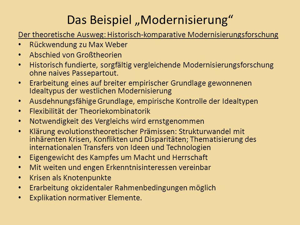 """Das Beispiel """"Modernisierung Der theoretische Ausweg: Historisch-komparative Modernisierungsforschung Rückwendung zu Max Weber Abschied von Großtheorien Historisch fundierte, sorgfältig vergleichende Modernisierungsforschung ohne naives Passepartout."""