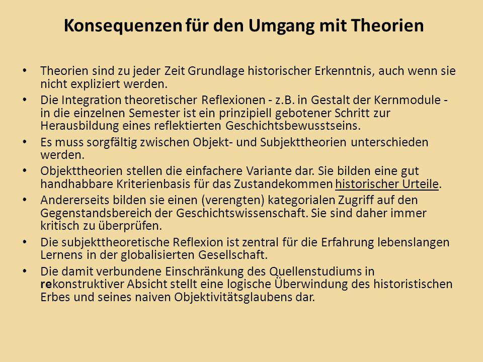 Konsequenzen für den Umgang mit Theorien Theorien sind zu jeder Zeit Grundlage historischer Erkenntnis, auch wenn sie nicht expliziert werden.