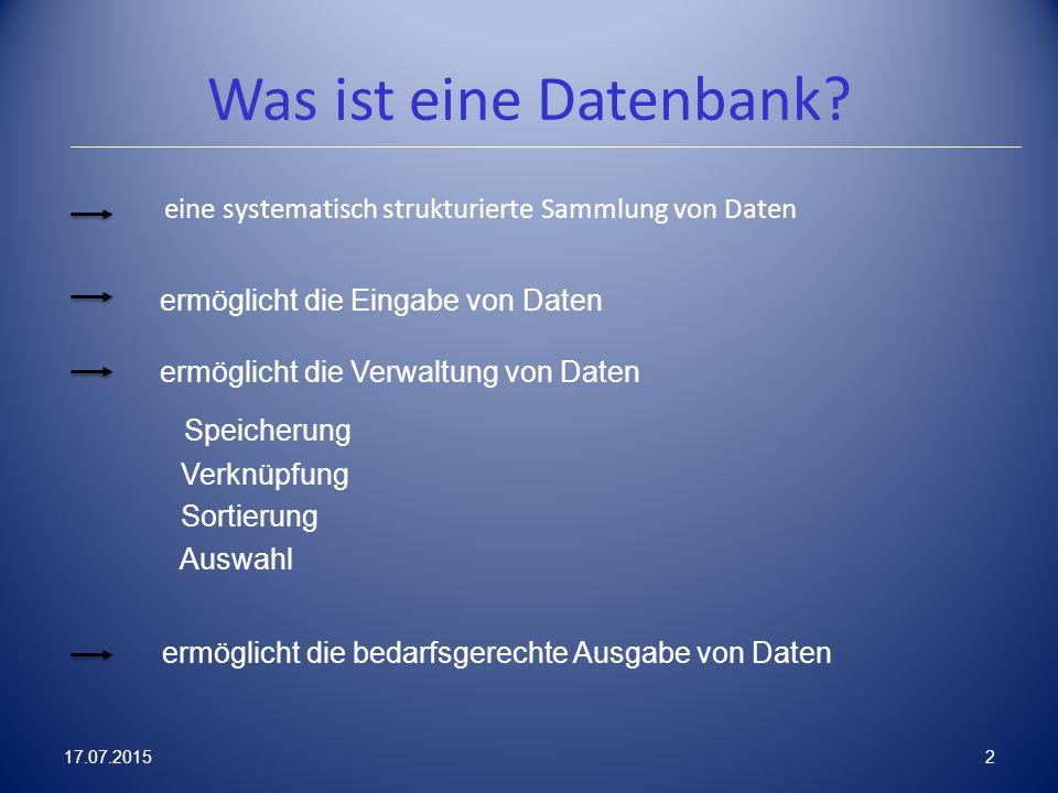 Was ist eine Datenbank? eine systematisch strukturierte Sammlung von Daten ermöglicht die Eingabe von Daten ermöglicht die Verwaltung von Daten Speich