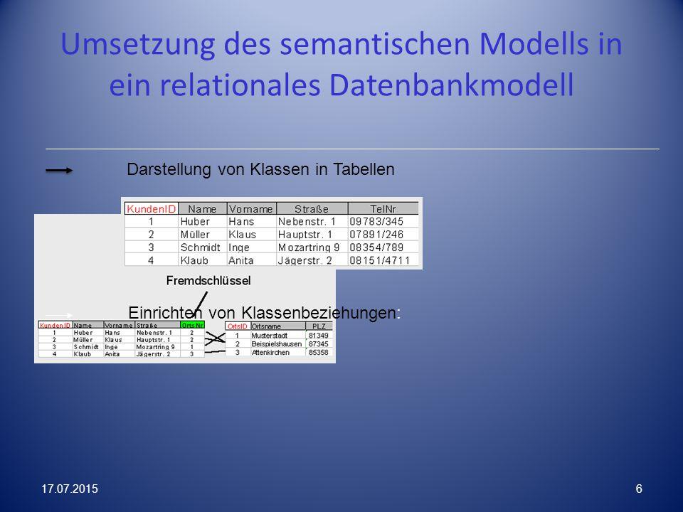 Umsetzung des semantischen Modells in ein relationales Datenbankmodell Einrichten von Klassenbeziehungen: Darstellung von Klassen in Tabellen 17.07.20