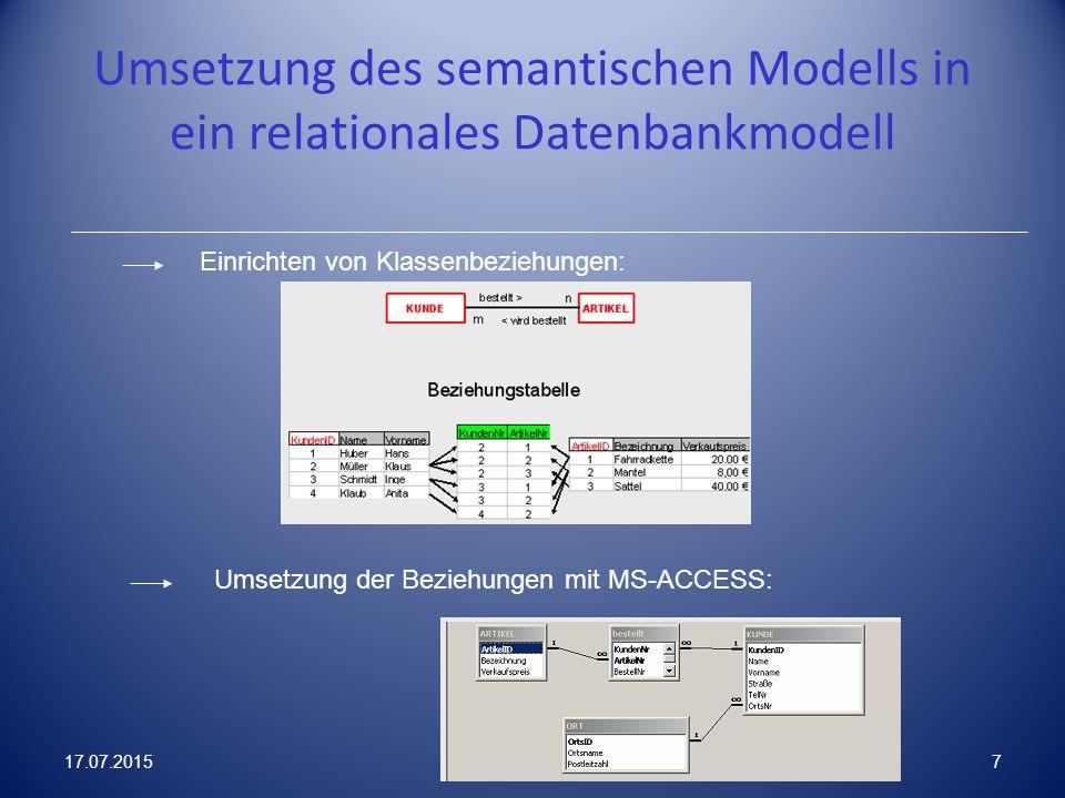 Umsetzung des semantischen Modells in ein relationales Datenbankmodell Einrichten von Klassenbeziehungen: Umsetzung der Beziehungen mit MS-ACCESS: 17.