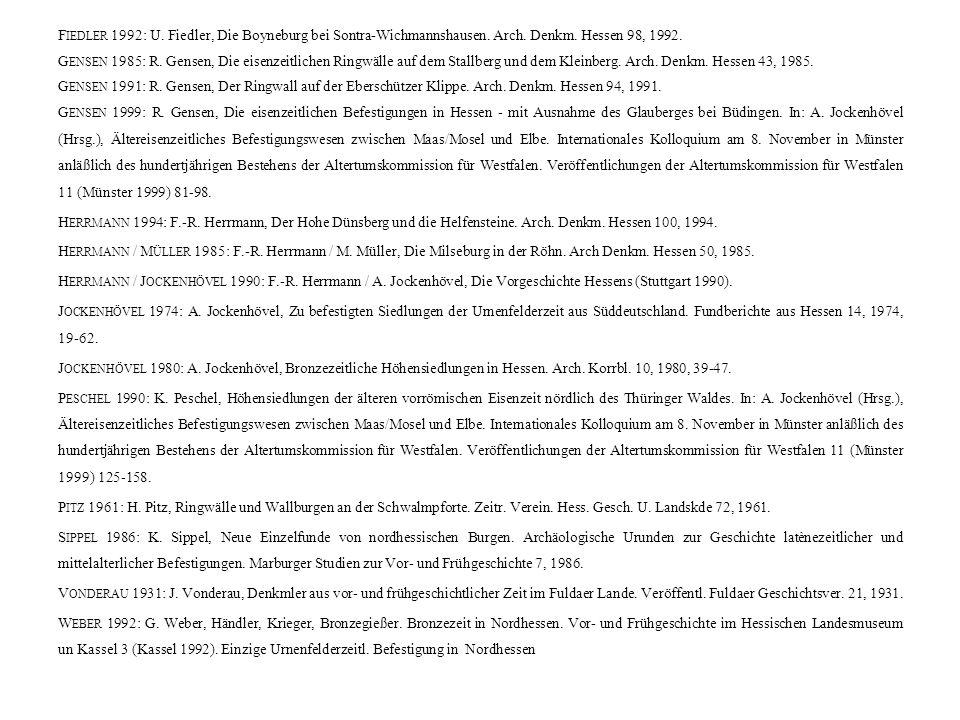 F IEDLER 1992: U. Fiedler, Die Boyneburg bei Sontra-Wichmannshausen.
