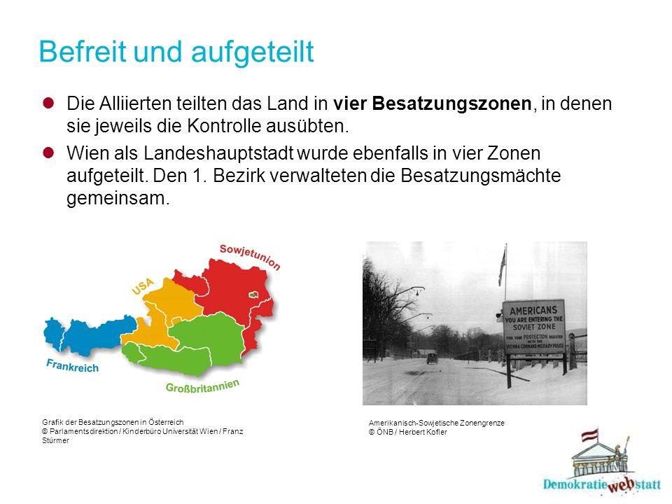 Befreit und aufgeteilt Die Alliierten teilten das Land in vier Besatzungszonen, in denen sie jeweils die Kontrolle ausübten. Wien als Landeshauptstadt