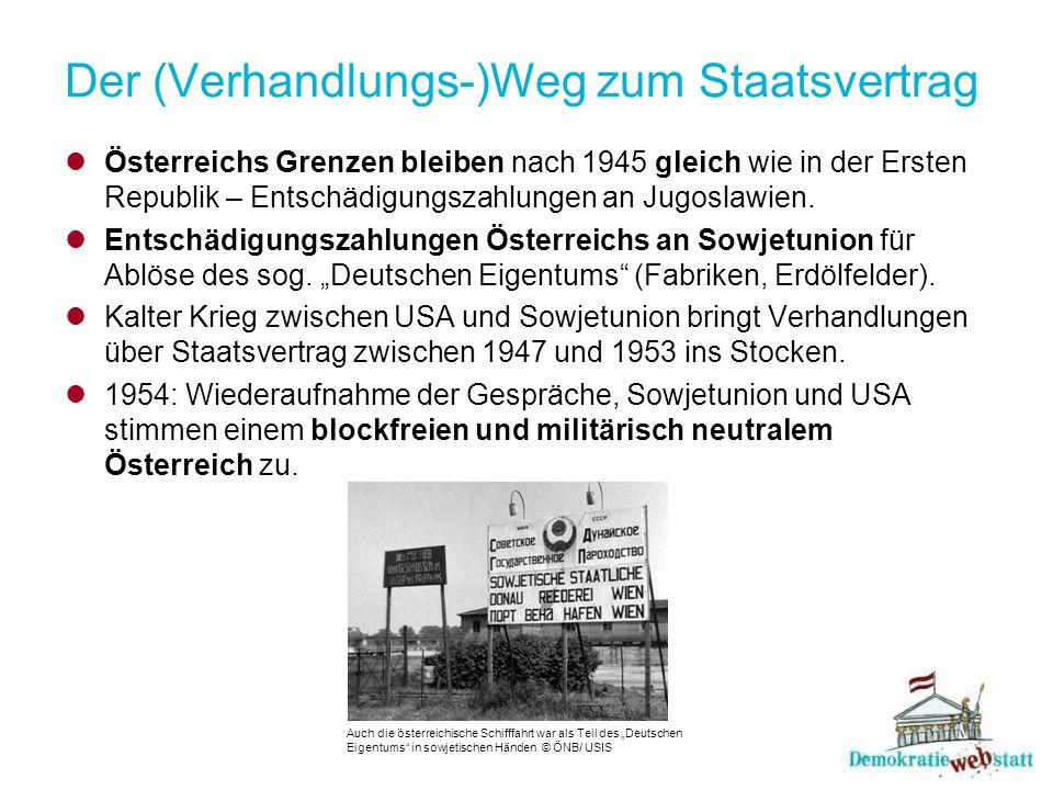 Der (Verhandlungs-)Weg zum Staatsvertrag Österreichs Grenzen bleiben nach 1945 gleich wie in der Ersten Republik – Entschädigungszahlungen an Jugoslaw