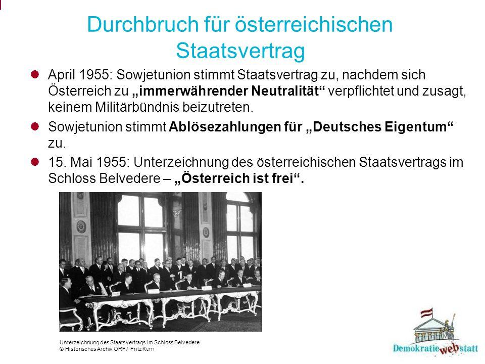 """Durchbruch für österreichischen Staatsvertrag April 1955: Sowjetunion stimmt Staatsvertrag zu, nachdem sich Österreich zu """"immerwährender Neutralität"""""""