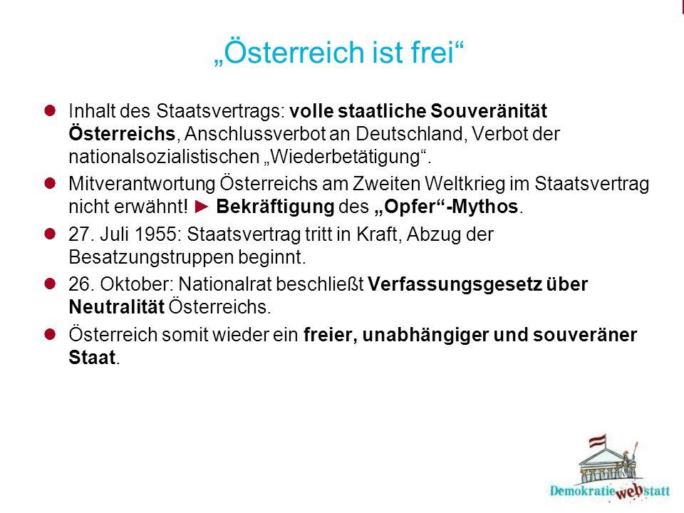 """""""Österreich ist frei"""" Inhalt des Staatsvertrags: volle staatliche Souveränität Österreichs, Anschlussverbot an Deutschland, Verbot der nationalsoziali"""