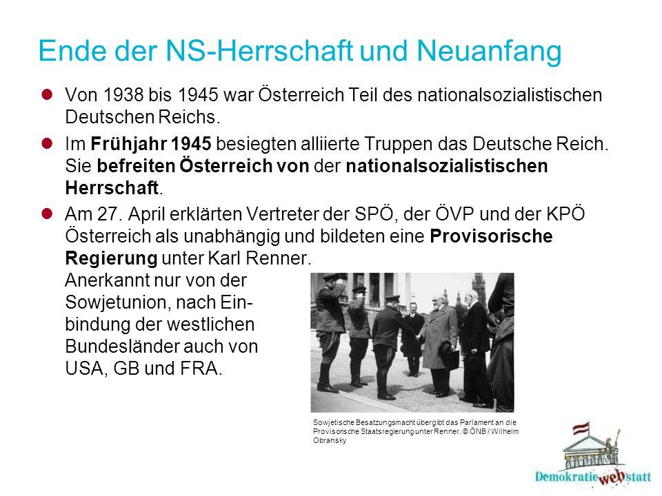 Erste Nationalratswahl 1945 Drei Parteien bildeten eine vorläufige Regierung: - Sozialistische Partei Österreichs (SPÖ) - Österreichische Volkspartei (ÖVP) - Kommunistische Partei Österreichs (KPÖ) November 1945: erstmals seit 15 Jahren wieder Nationalratswahl in Österreich.