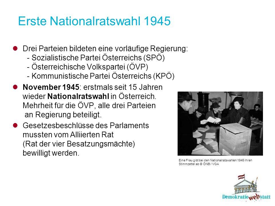 Erste Nationalratswahl 1945 Drei Parteien bildeten eine vorläufige Regierung: - Sozialistische Partei Österreichs (SPÖ) - Österreichische Volkspartei