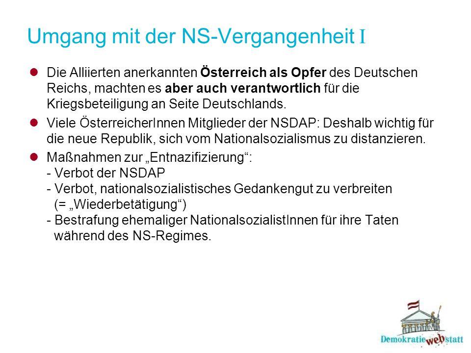 Umgang mit der NS-Vergangenheit II Dennoch: Nicht alle NS-TäterInnen bestraft, viele MitläuferInnen aus ihrer Verantwortung entlassen.
