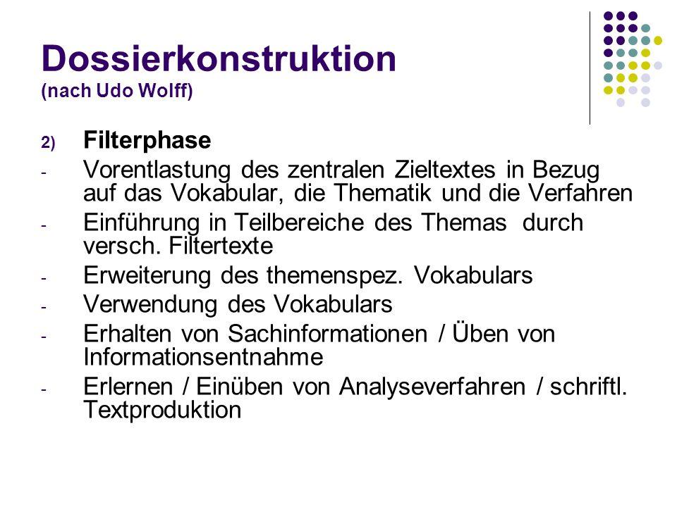 Dossierkonstruktion (nach Udo Wolff) 2) Filterphase - Vorentlastung des zentralen Zieltextes in Bezug auf das Vokabular, die Thematik und die Verfahre