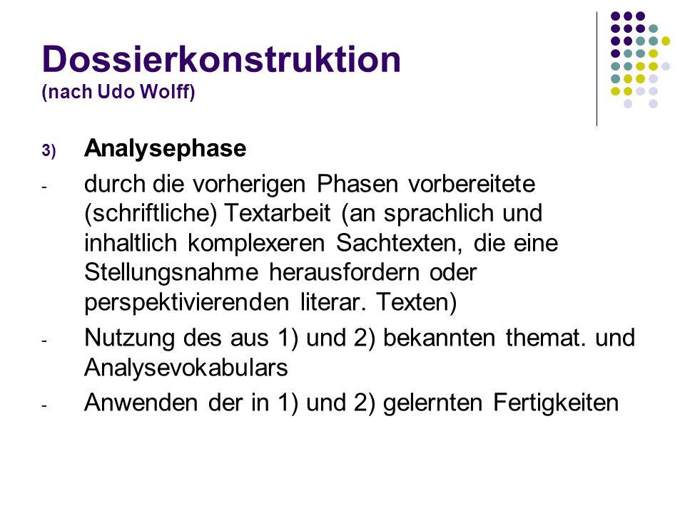 Dossierkonstruktion (nach Udo Wolff) 3) Analysephase - durch die vorherigen Phasen vorbereitete (schriftliche) Textarbeit (an sprachlich und inhaltlic