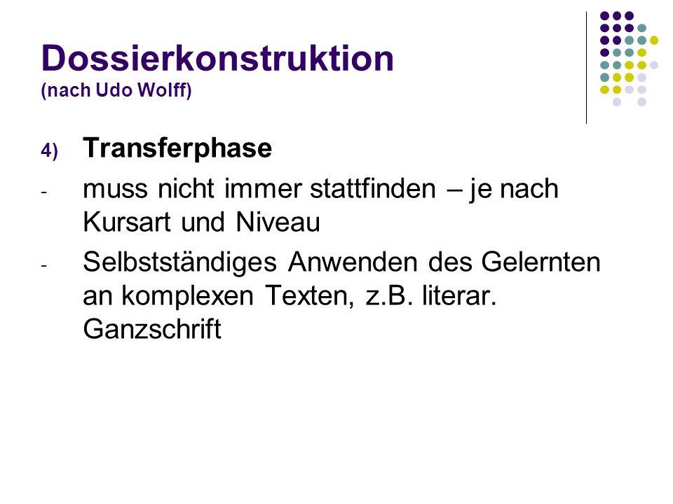 Dossierkonstruktion (nach Udo Wolff) 4) Transferphase - muss nicht immer stattfinden – je nach Kursart und Niveau - Selbstständiges Anwenden des Geler