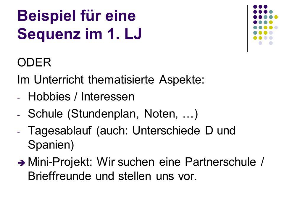 Beispiel für eine Sequenz im 1. LJ ODER Im Unterricht thematisierte Aspekte: - Hobbies / Interessen - Schule (Stundenplan, Noten, …) - Tagesablauf (au