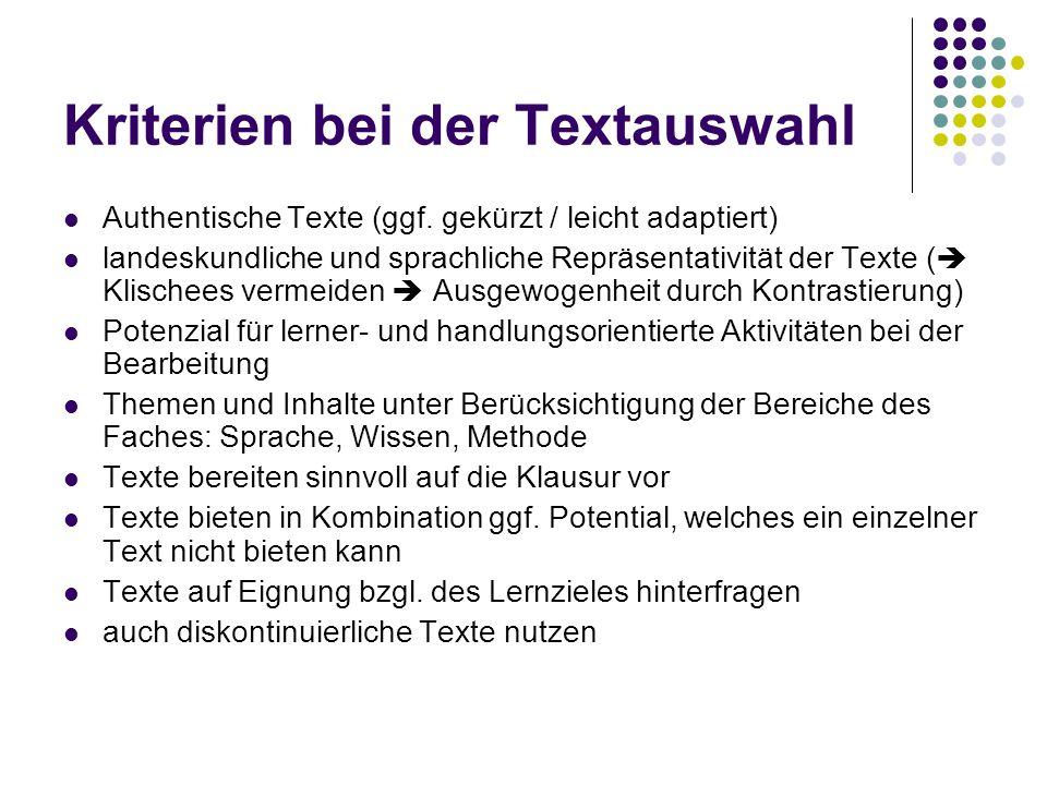 Kriterien bei der Textauswahl Authentische Texte (ggf. gekürzt / leicht adaptiert) landeskundliche und sprachliche Repräsentativität der Texte (  Kli