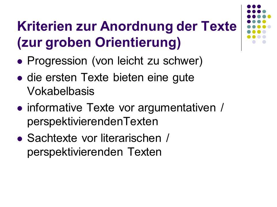 Kriterien zur Anordnung der Texte (zur groben Orientierung) Progression (von leicht zu schwer) die ersten Texte bieten eine gute Vokabelbasis informat