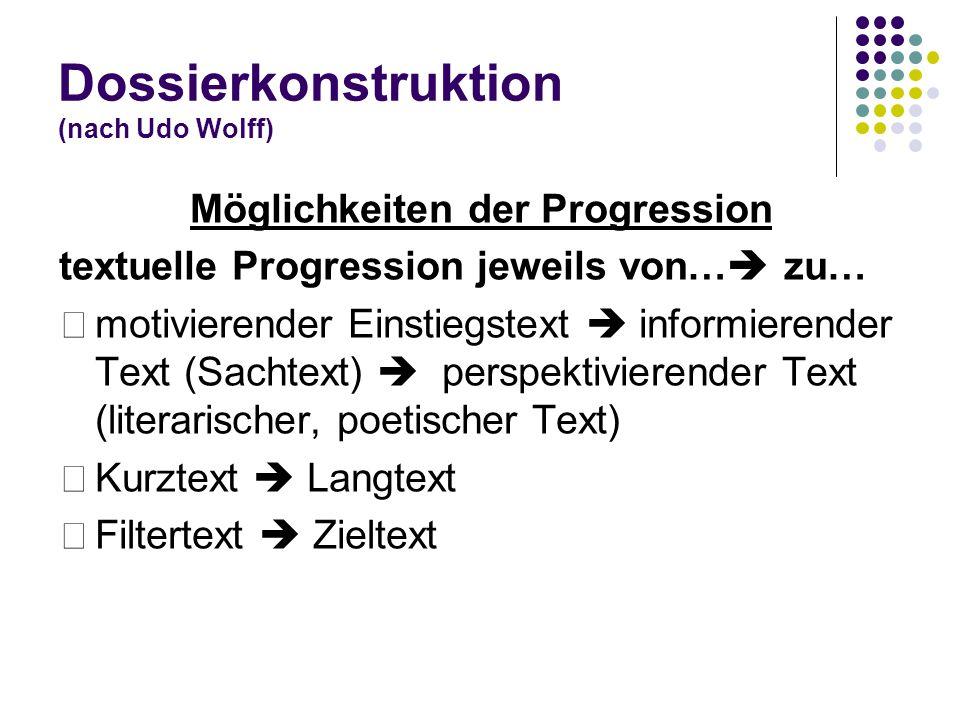 Dossierkonstruktion (nach Udo Wolff) Möglichkeiten der Progression textuelle Progression jeweils von…  zu… motivierender Einstiegstext  informierend