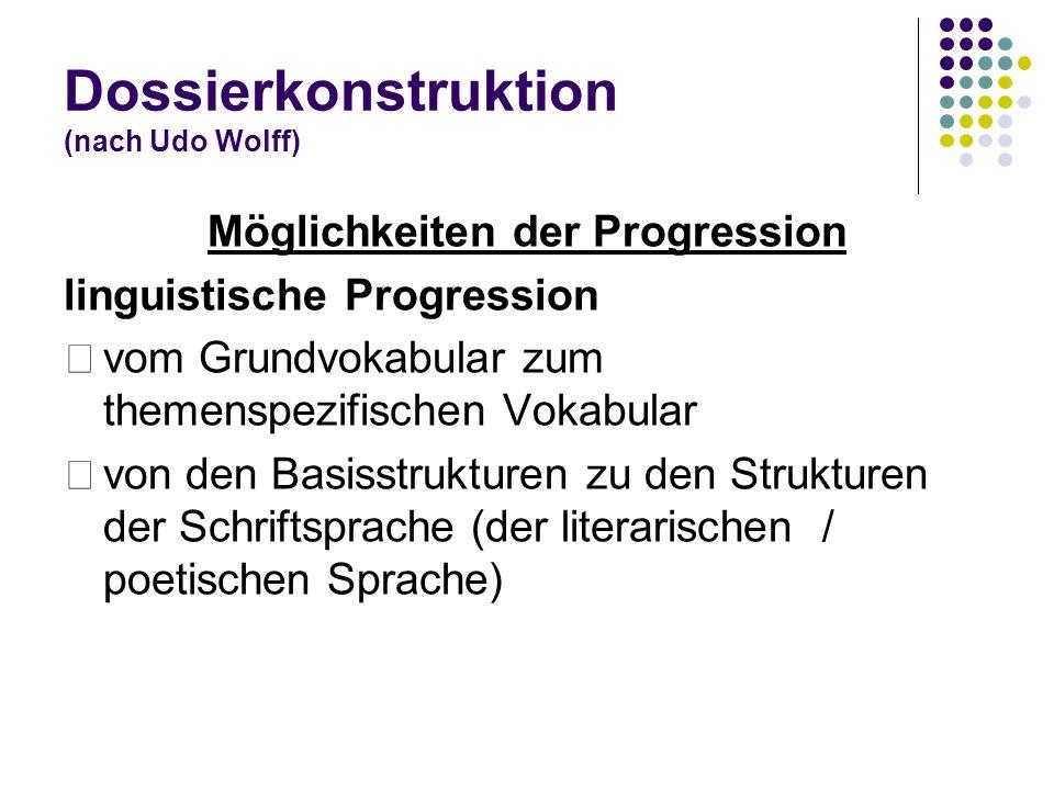 Dossierkonstruktion (nach Udo Wolff) Möglichkeiten der Progression linguistische Progression vom Grundvokabular zum themenspezifischen Vokabular von d