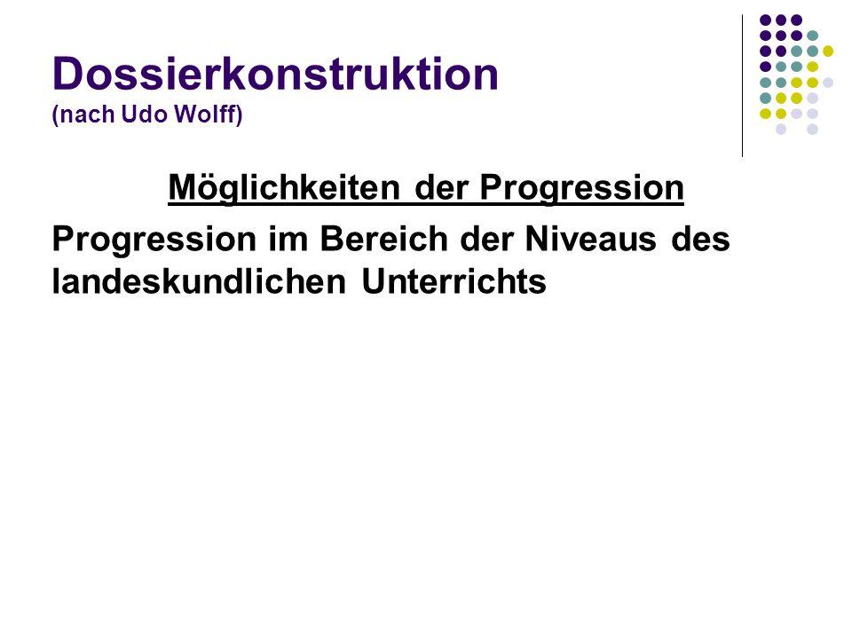 Dossierkonstruktion (nach Udo Wolff) Möglichkeiten der Progression Progression im Bereich der Niveaus des landeskundlichen Unterrichts