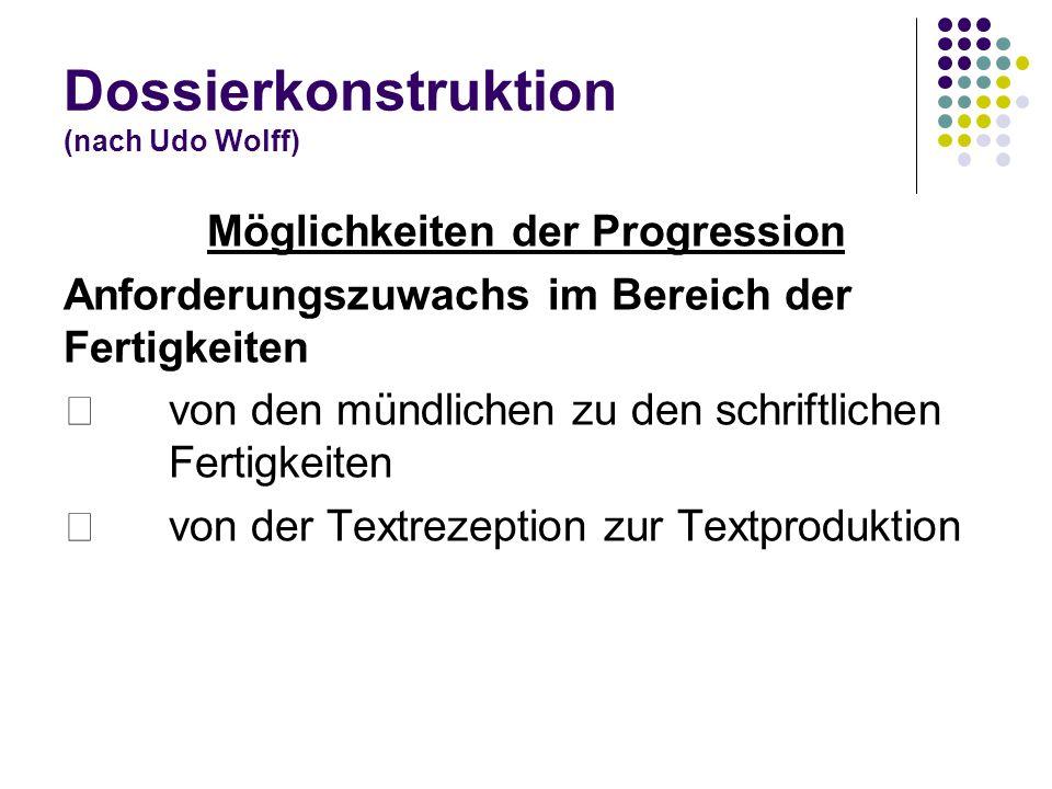 Dossierkonstruktion (nach Udo Wolff) Möglichkeiten der Progression Anforderungszuwachs im Bereich der Fertigkeiten von den mündlichen zu den schriftli