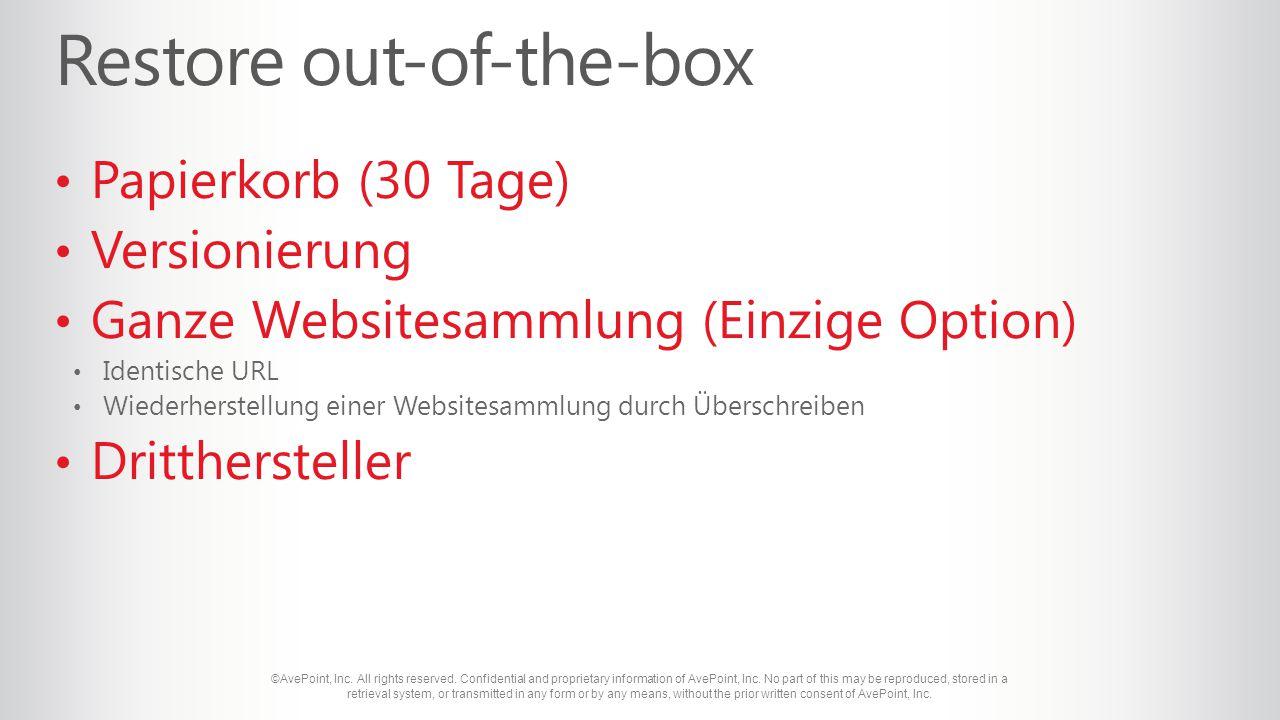 Papierkorb (30 Tage) Versionierung Ganze Websitesammlung (Einzige Option) Identische URL Wiederherstellung einer Websitesammlung durch Überschreiben Dritthersteller
