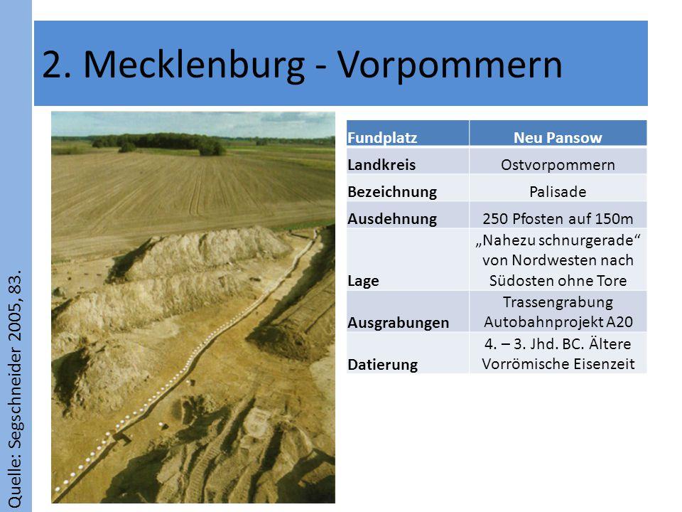 Quelle: Segschneider 2005, 83. 2. Mecklenburg - Vorpommern FundplatzNeu Pansow LandkreisOstvorpommern BezeichnungPalisade Ausdehnung250 Pfosten auf 15