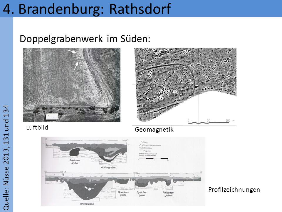 Quelle: Nüsse 2013, 131 und 134 4. Brandenburg: Rathsdorf Luftbild Geomagnetik Profilzeichnungen Doppelgrabenwerk im Süden: