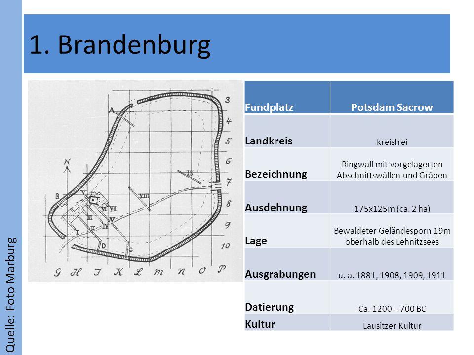 Quelle: Foto Marburg 1. Brandenburg FundplatzPotsdam Sacrow Landkreis kreisfrei Bezeichnung Ringwall mit vorgelagerten Abschnittswällen und Gräben Aus