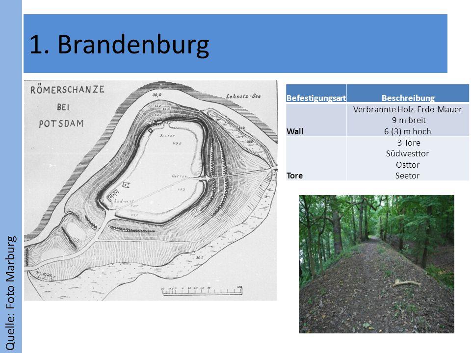 Quelle: Foto Marburg 1. Brandenburg BefestigungsartBeschreibung Wall Verbrannte Holz-Erde-Mauer 9 m breit 6 (3) m hoch Tore 3 Tore Südwesttor Osttor S