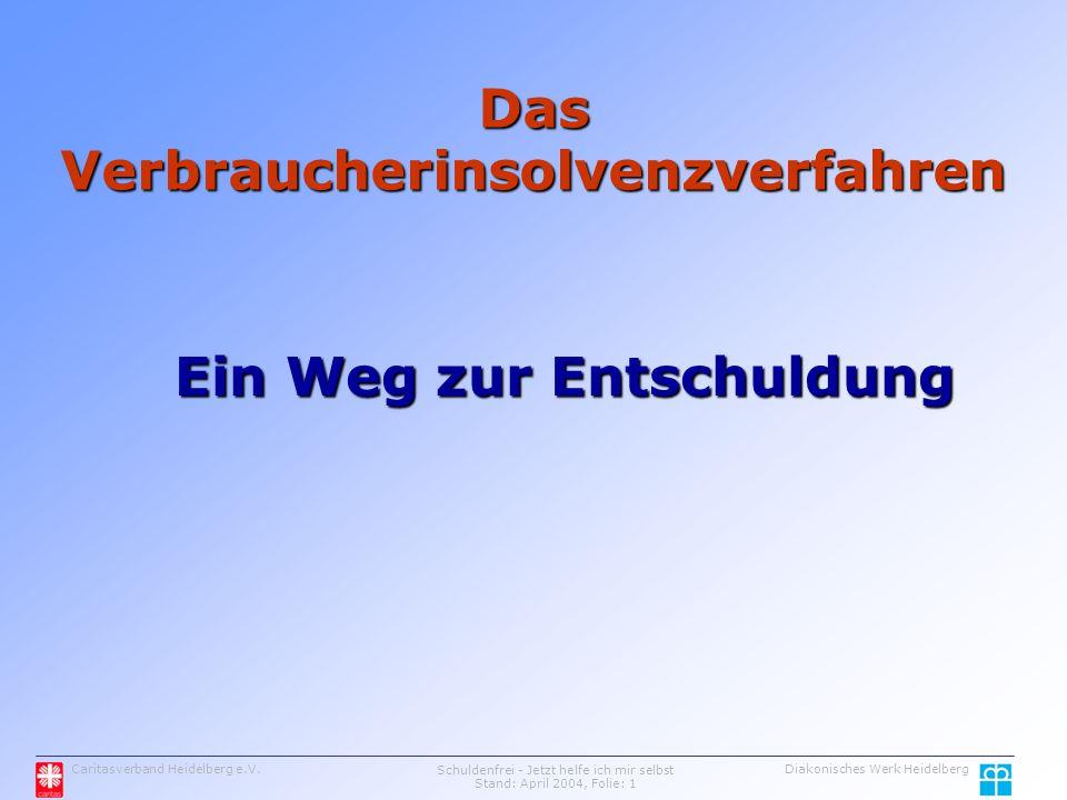 Das Verbraucherinsolvenzverfahren Ein Weg zur Entschuldung Caritasverband Heidelberg e.V.Schuldenfrei - Jetzt helfe ich mir selbst Stand: April 2004, Folie: 1 Diakonisches Werk Heidelberg
