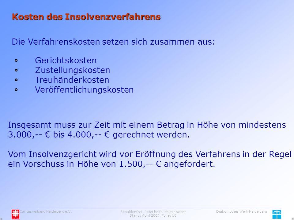 Caritasverband Heidelberg e.V.Schuldenfrei - Jetzt helfe ich mir selbst Stand: April 2004, Folie: 10 Diakonisches Werk Heidelberg Kosten des Insolvenzverfahrens Die Verfahrenskosten setzen sich zusammen aus: Gerichtskosten Zustellungskosten Treuhänderkosten Veröffentlichungskosten Insgesamt muss zur Zeit mit einem Betrag in Höhe von mindestens 3.000,-- € bis 4.000,-- € gerechnet werden.