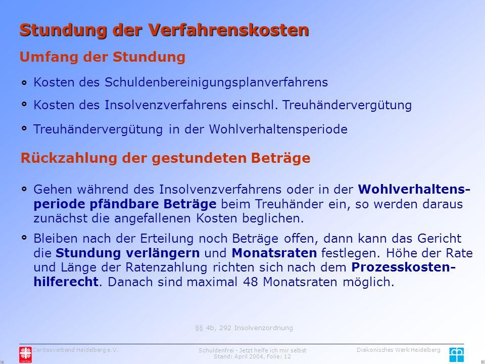 Caritasverband Heidelberg e.V.Schuldenfrei - Jetzt helfe ich mir selbst Stand: April 2004, Folie: 12 Diakonisches Werk Heidelberg Stundung der Verfahrenskosten Umfang der Stundung Kosten des Schuldenbereinigungsplanverfahrens Kosten des Insolvenzverfahrens einschl.