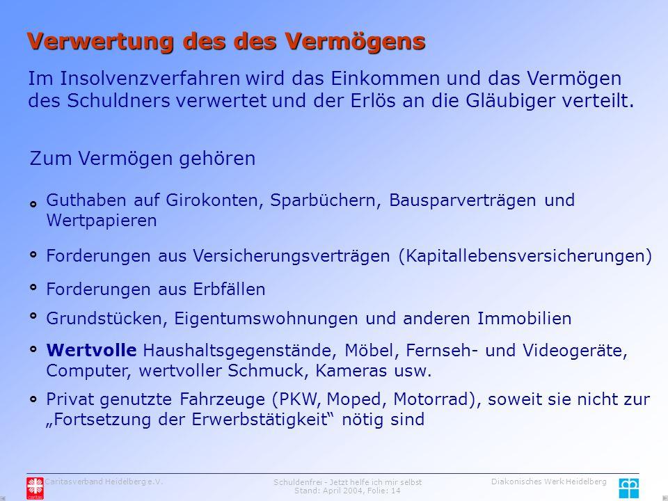 Caritasverband Heidelberg e.V.Schuldenfrei - Jetzt helfe ich mir selbst Stand: April 2004, Folie: 14 Diakonisches Werk Heidelberg Verwertung des des Vermögens Im Insolvenzverfahren wird das Einkommen und das Vermögen des Schuldners verwertet und der Erlös an die Gläubiger verteilt.